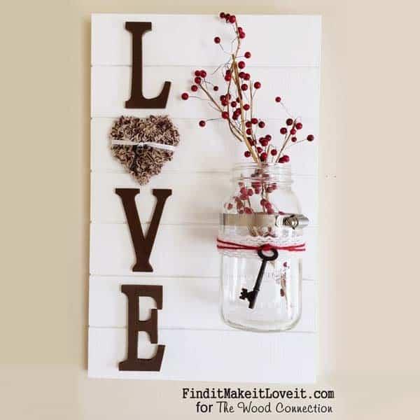 diy girlfriend gifts: Handmade Love Slat Sign