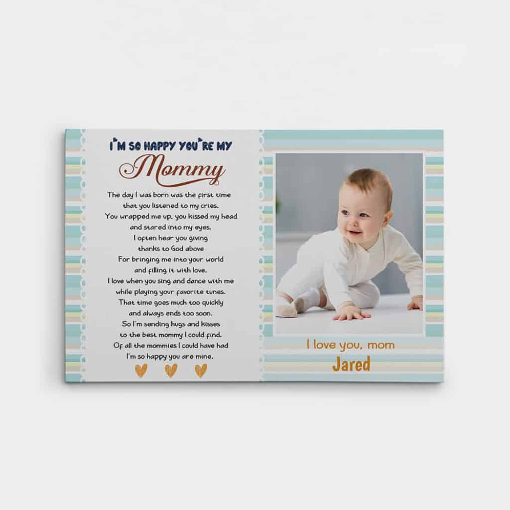 Custom Photo Canvas Print gift from baby to new mom