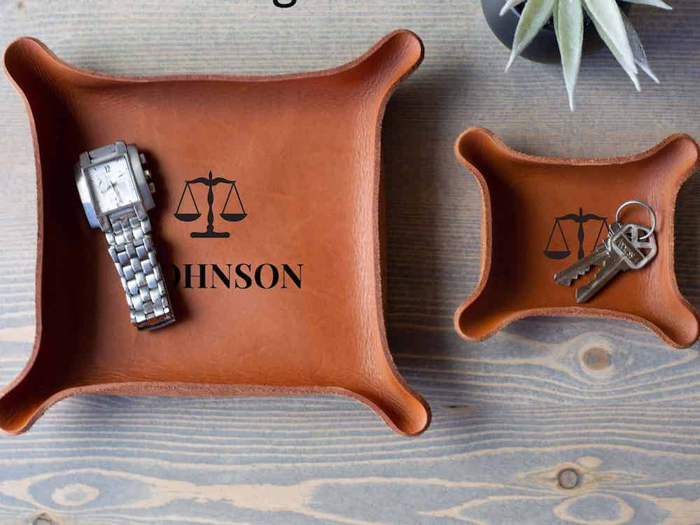Leather Catchall Tray With Initial