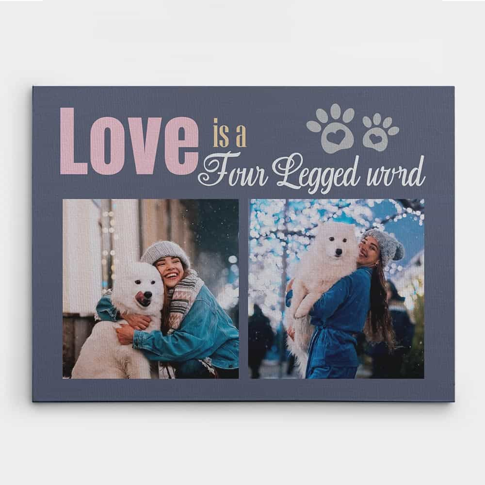 Dog and Owner Photo Canvas Print