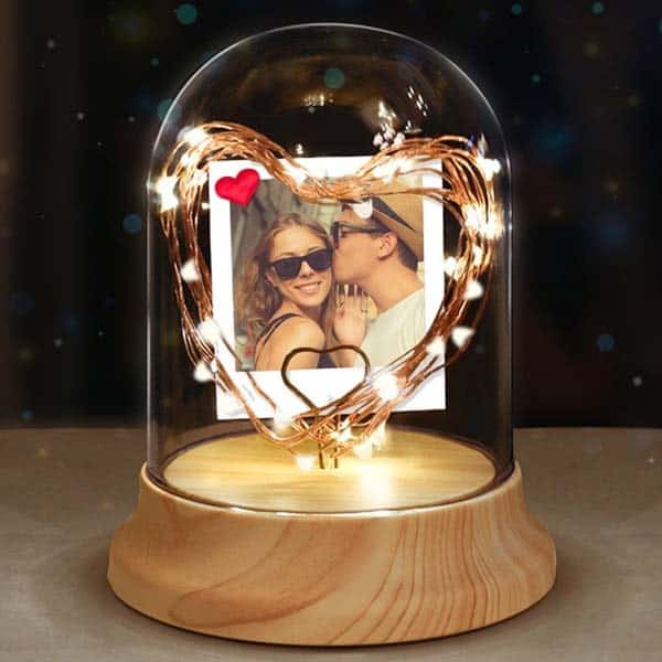 best anniversary gifts for girlfriend: Photo Night Light Glass Dome