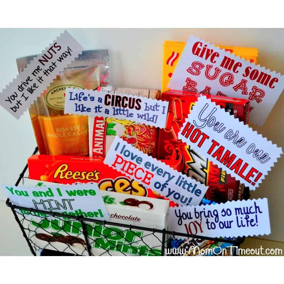 a sweet anniversary gift basket with funny wordings