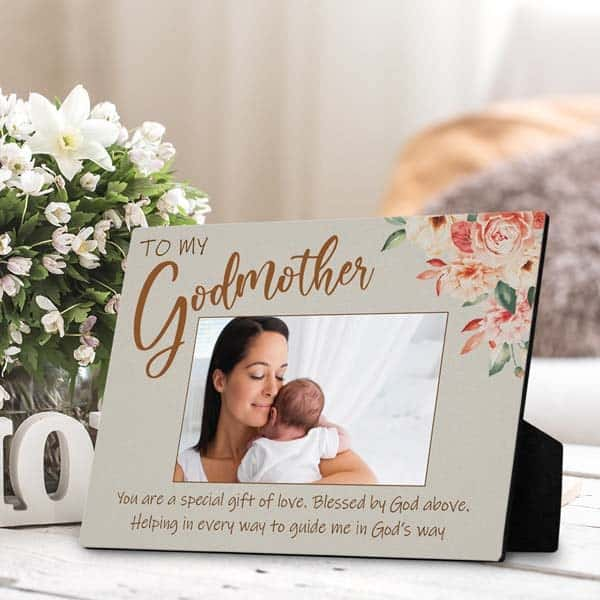 faith based gifts for her: godmother plaque