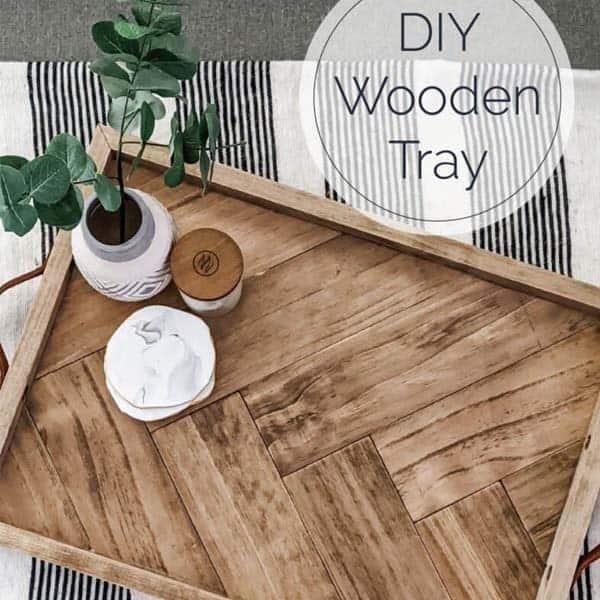 Wooden Herringbone Tray
