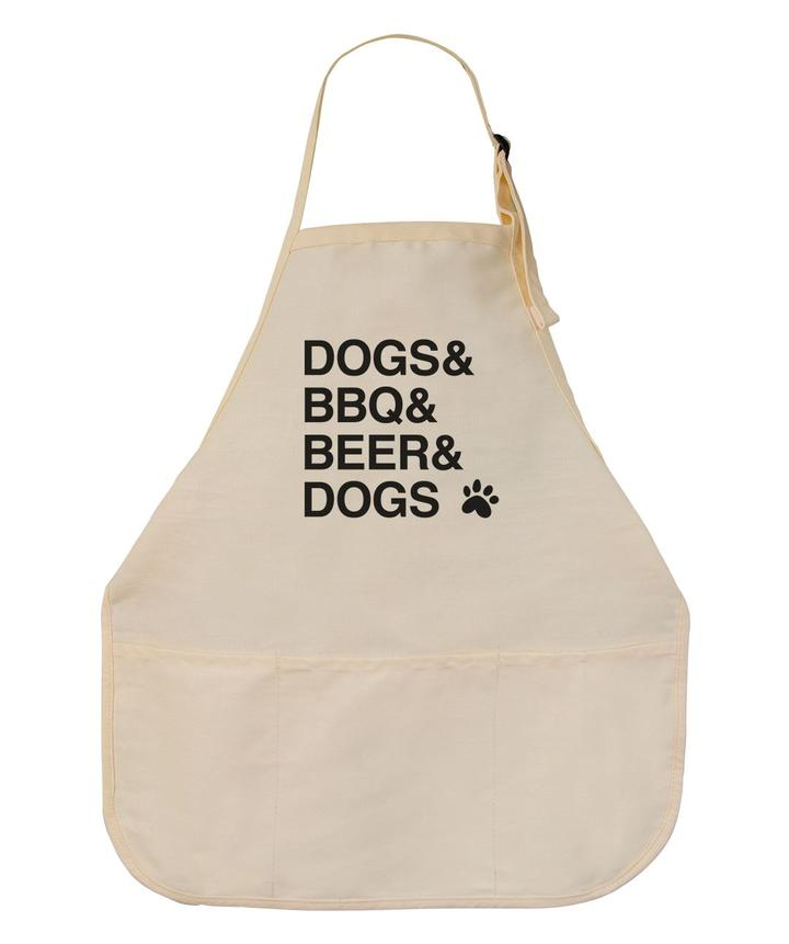 'Dogs & BBQ' Apron for dog father's day