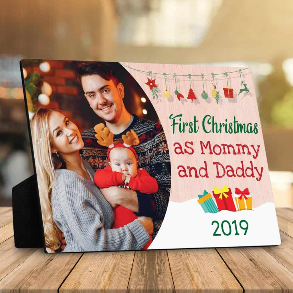 First Christmas as Mommy and Daddy Photo Desktop Plaque