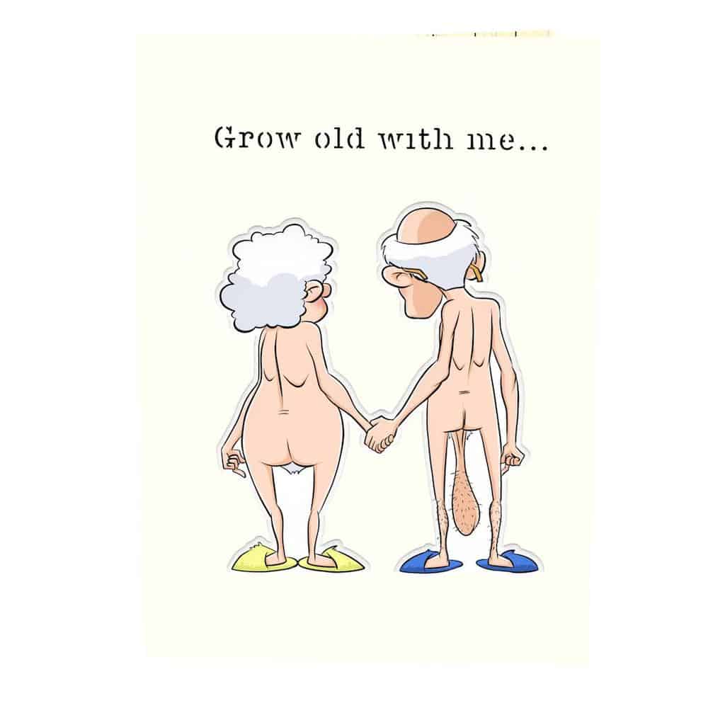 grow old with me hilarious anniversary popup card