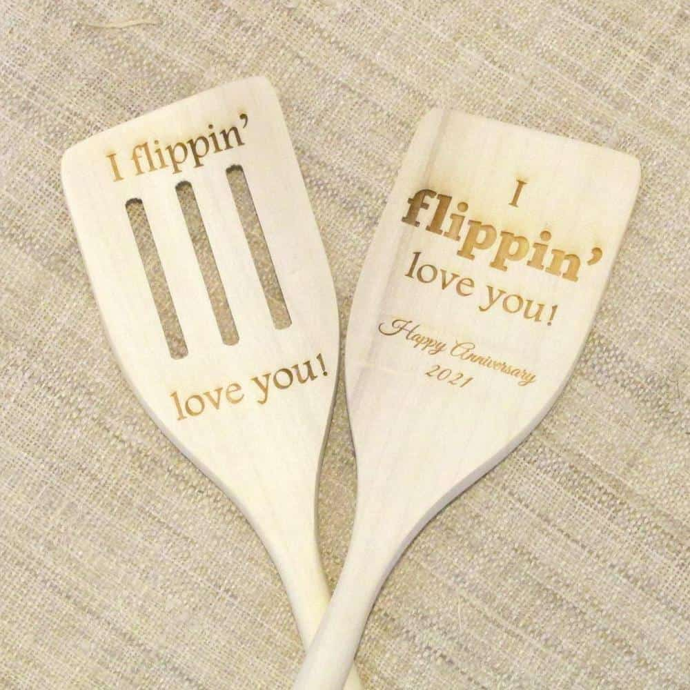 i flipping love you spatula wood anniversary gift