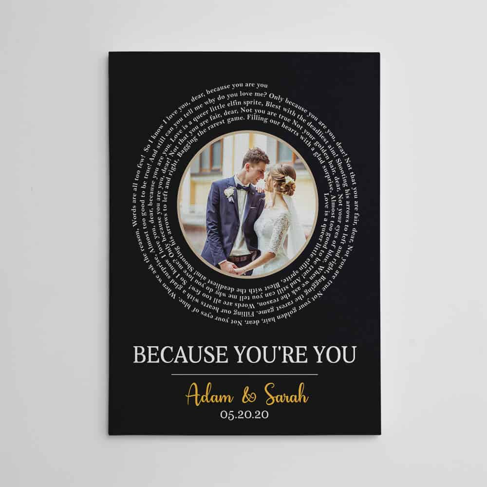 wedding engagement gift for daughter in law - photo and song lyrics canvas print