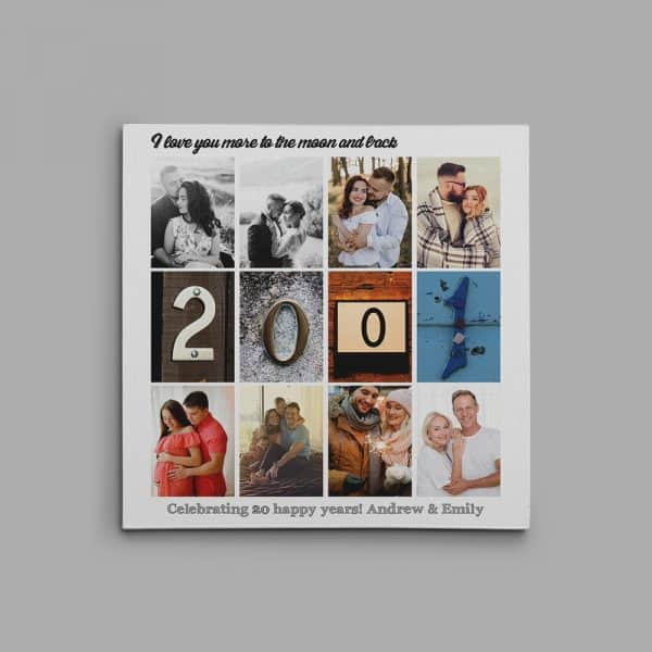 20th Anniversary Photo Collage with Letter Art Canvas Print
