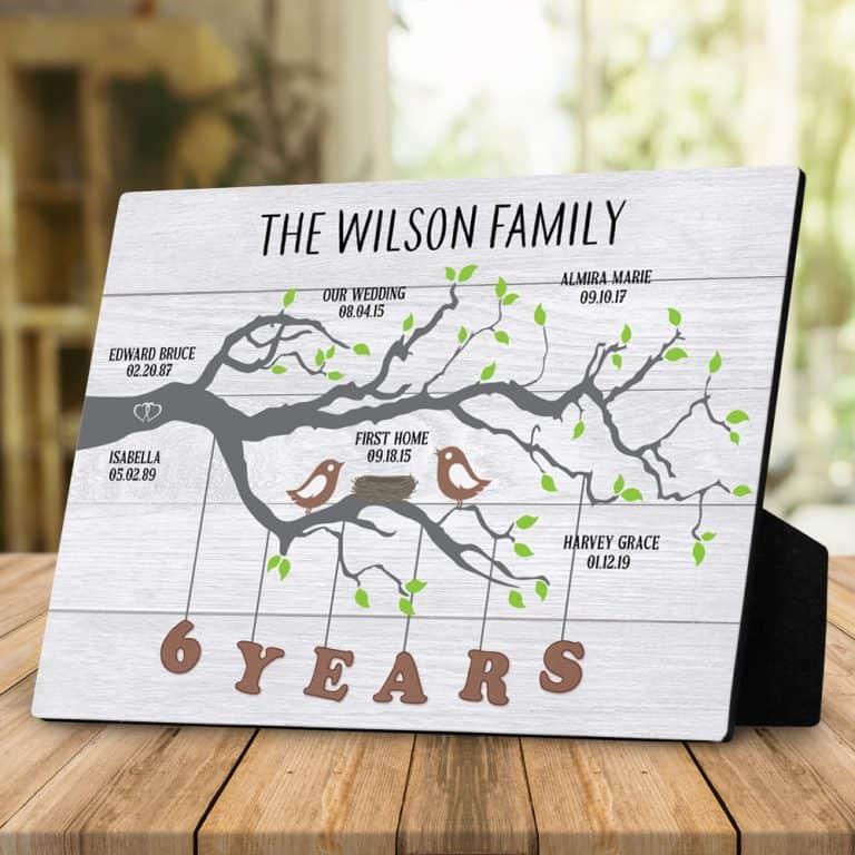 Family Tree Milestones Desktop Plaque
