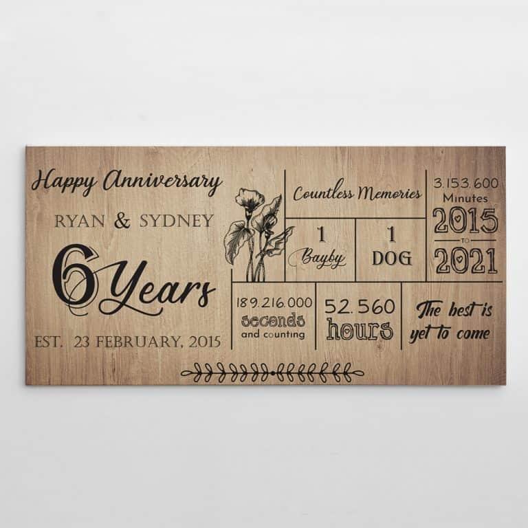 Happy 6 Years Anniversary Custom Canvas Print