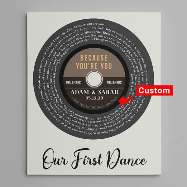 Vinyl Record Spiral Song Lyrics Canvas Print