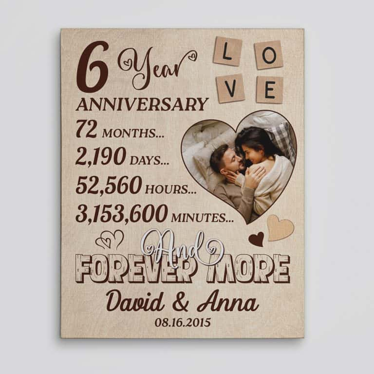 6-Year Anniversary Custom Photo Canvas Prin
