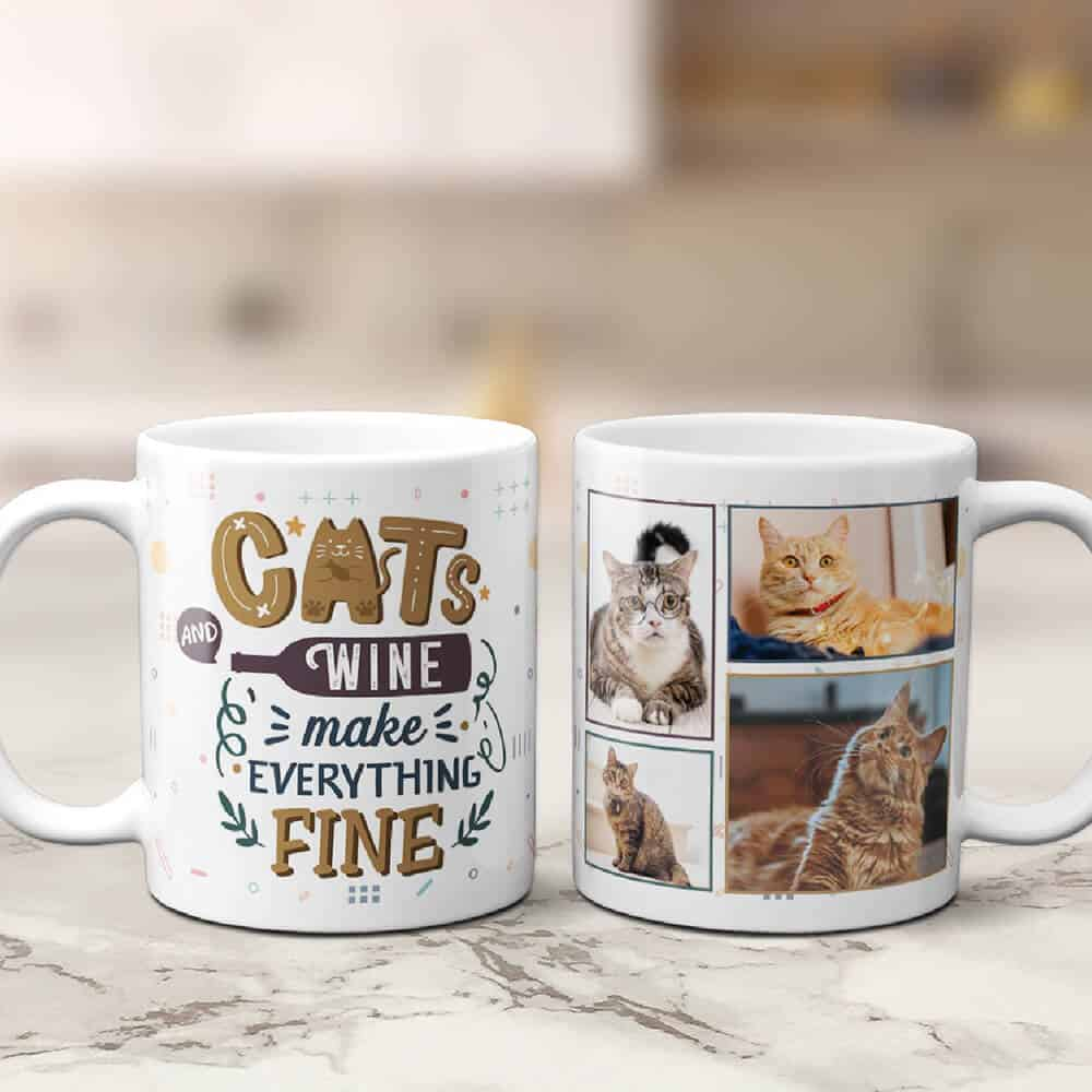 cats and wine photo mug gift for a wine lover