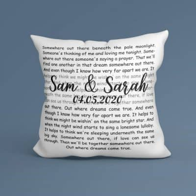 Personalized Song Lyrics Suede Pillow With Names And Date