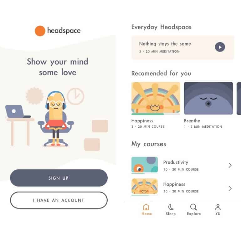 headspace application for stress relieving