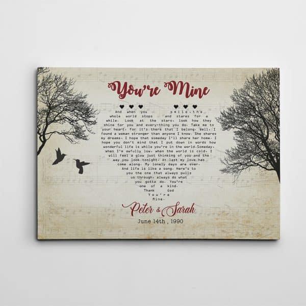 Heart-Shaped Bird Custom Song Lyrics Canvas