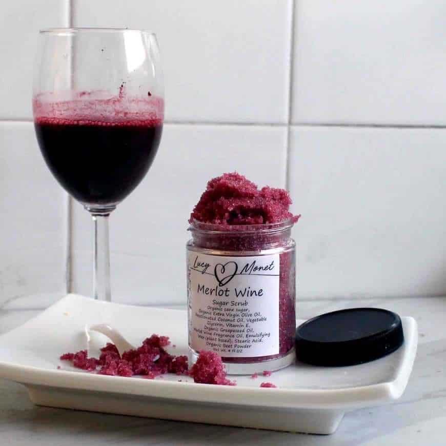 merlot wine sugar scrub exfoliator for women