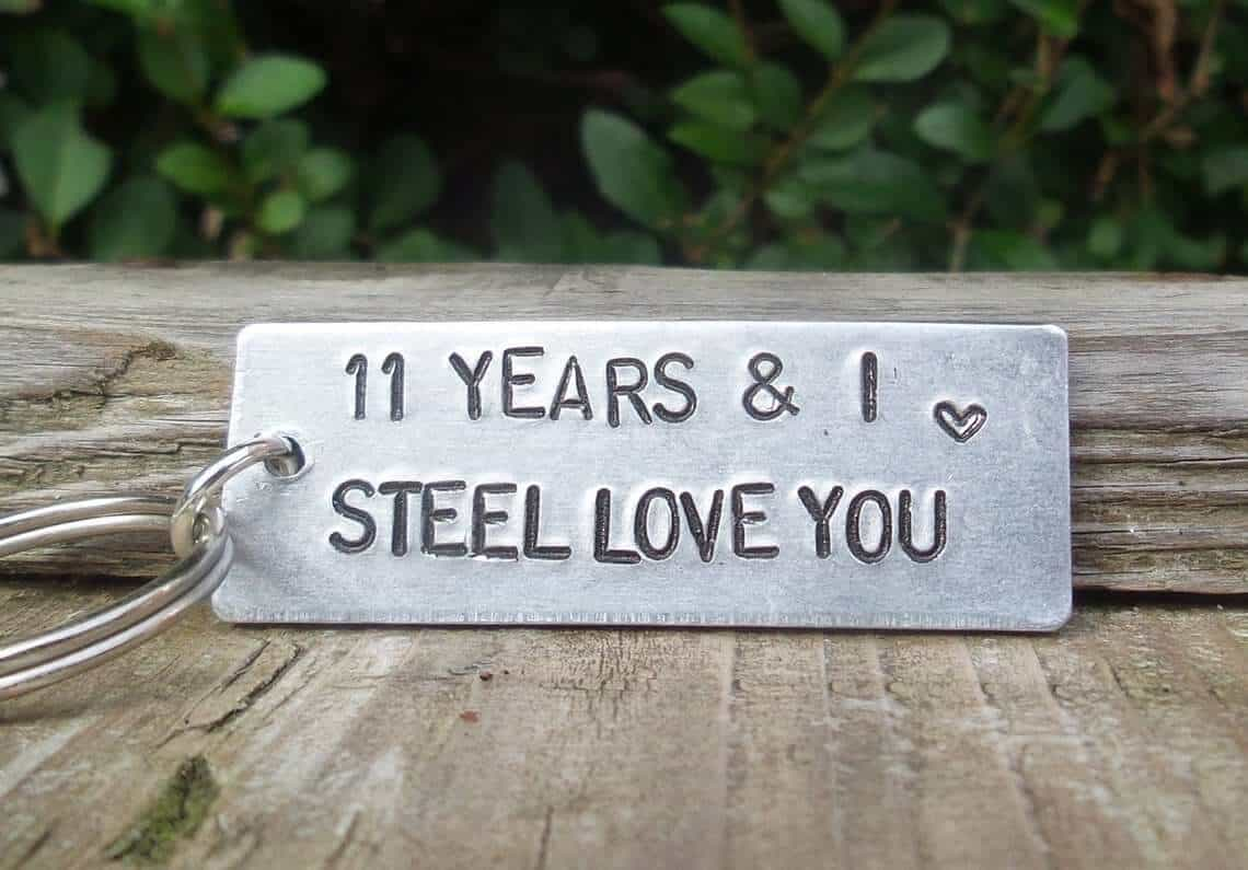11 Years And I STEEL Love You Key Ring 11th Wedding Anniversary Gifts For Men