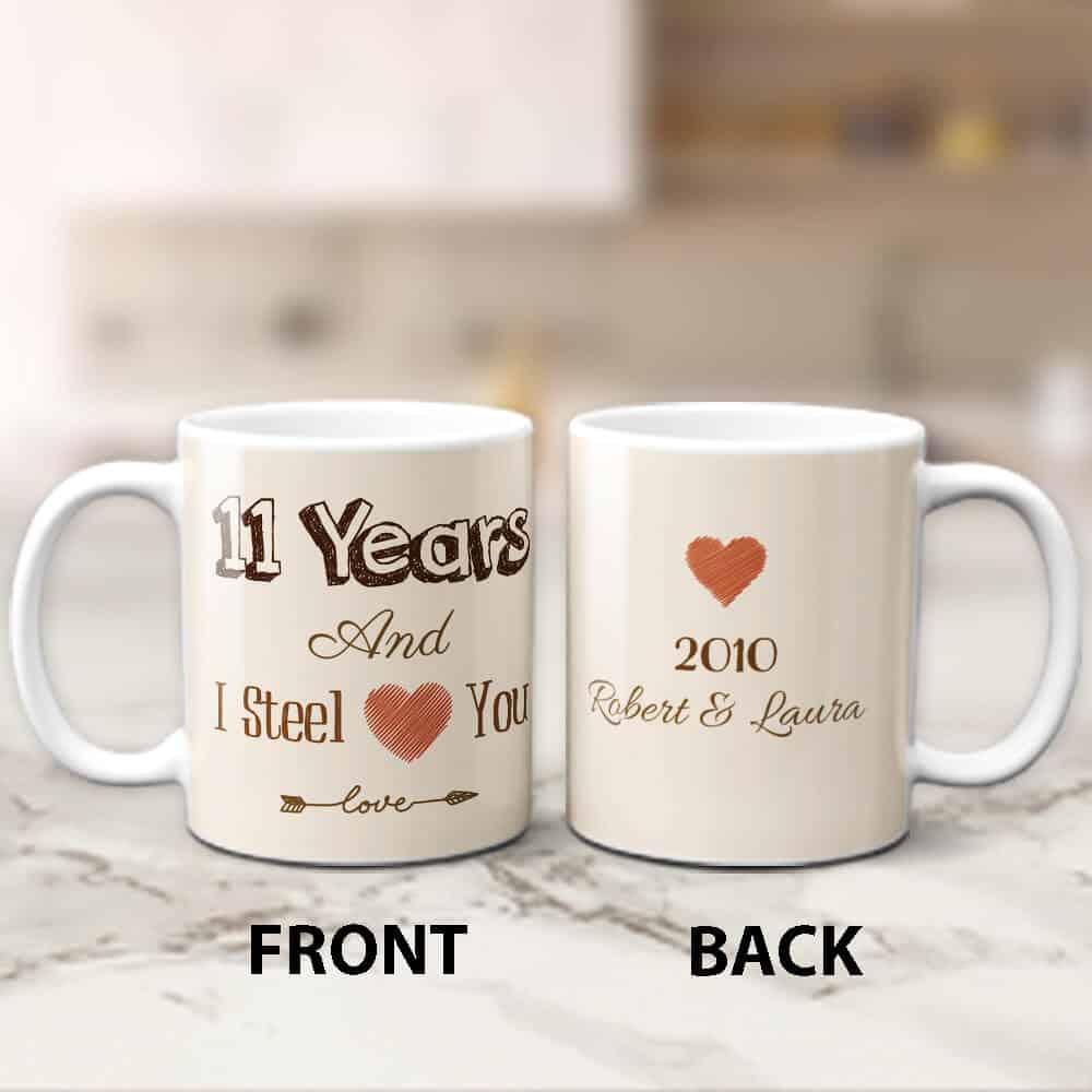 11 Years And I Steel Love You Custom Mug - Anniversary Gift for Wife