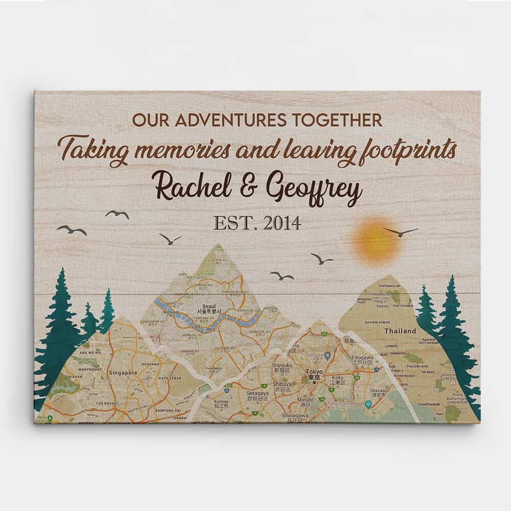 11 Years of Adventures Together Map Print