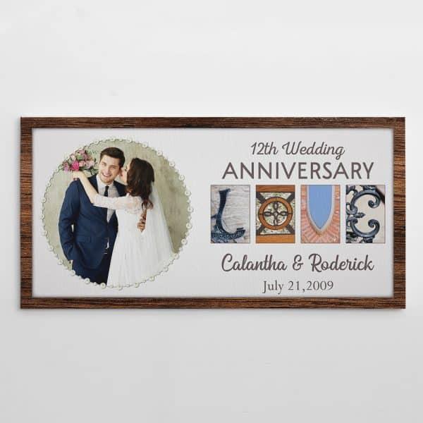 12th Wedding Anniversary Letter Art Custom Photo Canvas Print
