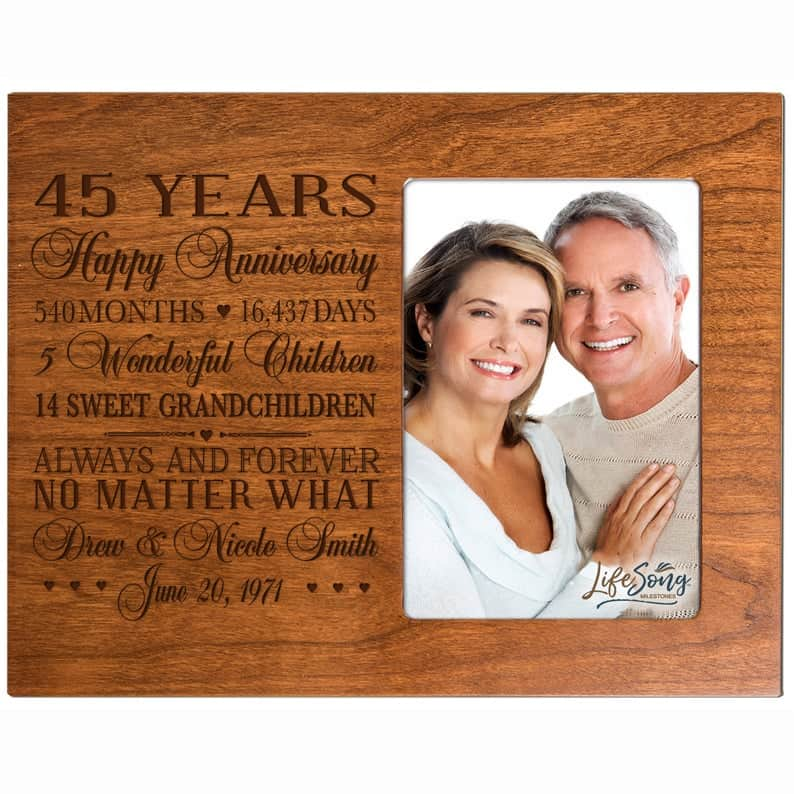Personalized 45th Wedding Anniversary Picture Frame