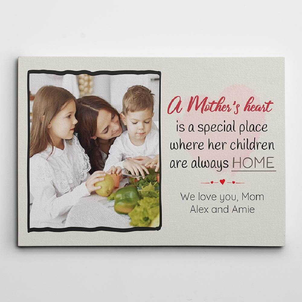 A Mother's Heart is a Special Place Photo Canvas Gift From Son To Mother