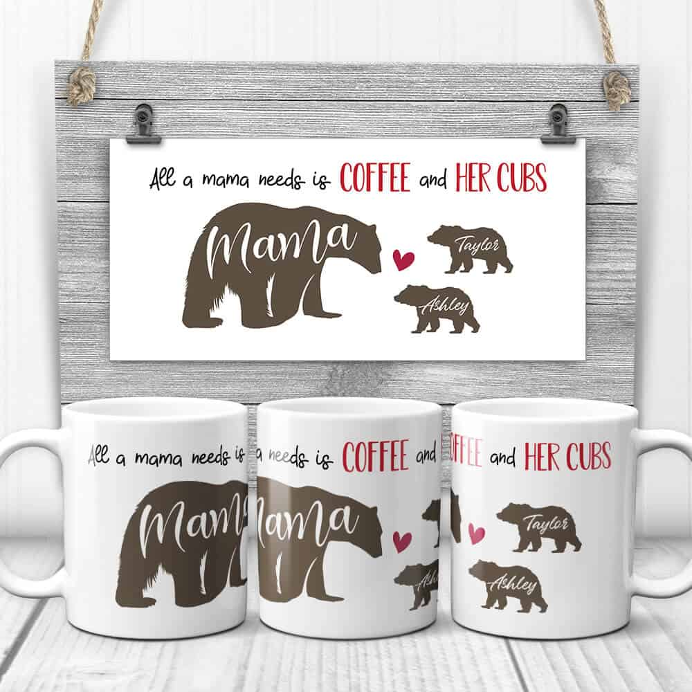 All A Mama Needs Is Coffee And Her Cubs Mug Gift for Mom from Sons