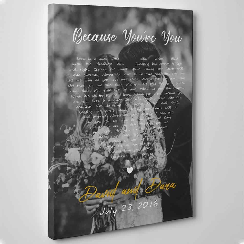 Anniversary Song Lyrics With Photo Canvas Wall Art personalized 11 year Anniversary Gift