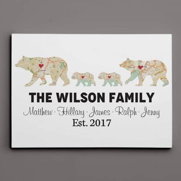 Bear Family Retro Map Custom Canvas Print Family Gift Ideas