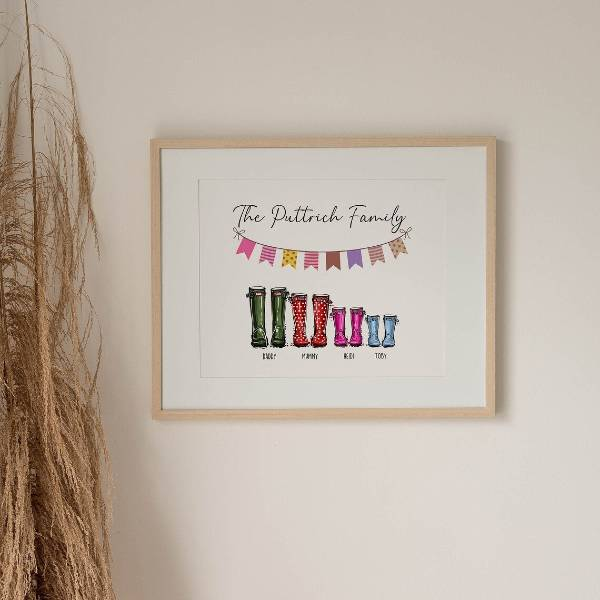 Family Welly Boot on canvas print