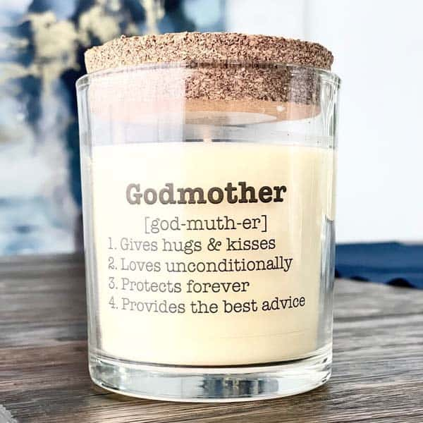 Godmother Definition Candle: gift ideas for godmother