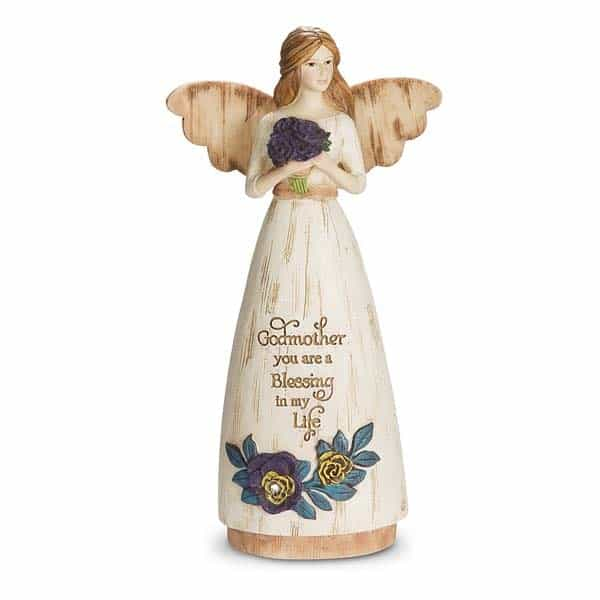 Godmother with Sentiment Angel Figurine: present for godmother