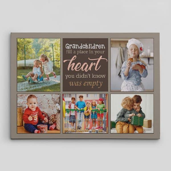 """""""Grandchildren Fill a Place in Your Heart"""" Custom Canvas Print family gift ideas"""