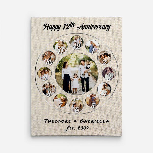 Happy 12 Years Anniversary Custom Photo Collage Canvas Print