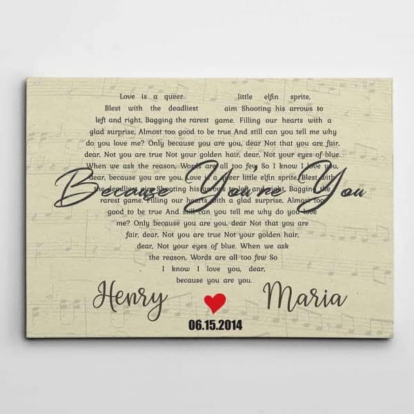 Heart-Shaped Song Lyrics Custom Canvas Print