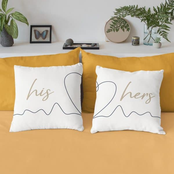 His Heart Her Couple Suede Pillow