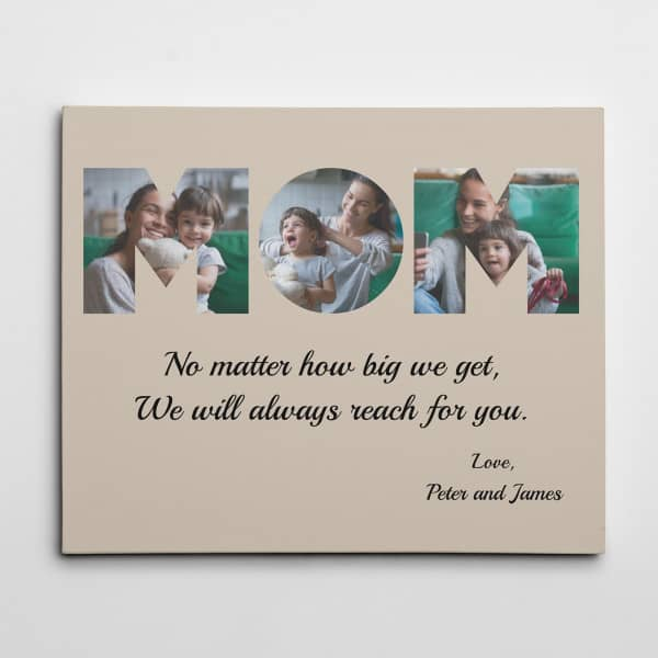 Photos of mom and child on canvas print