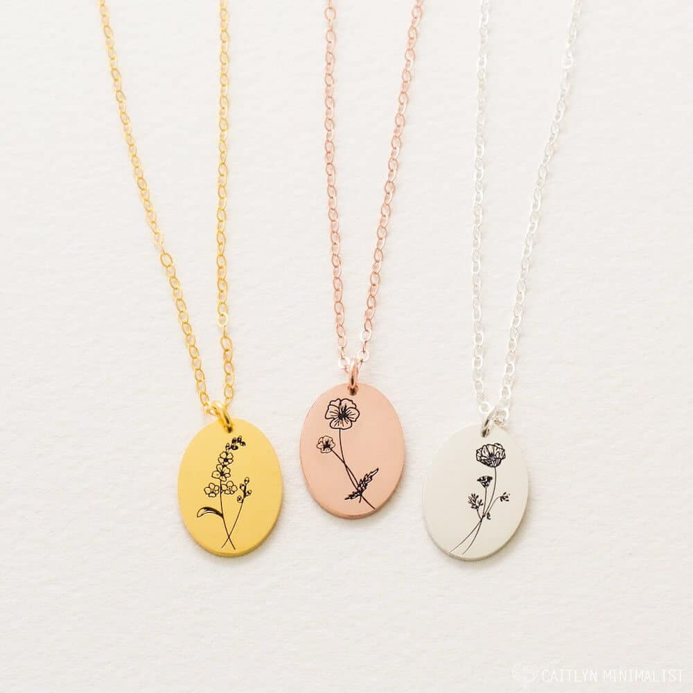 Minimalist Floral Necklace - Gift For her