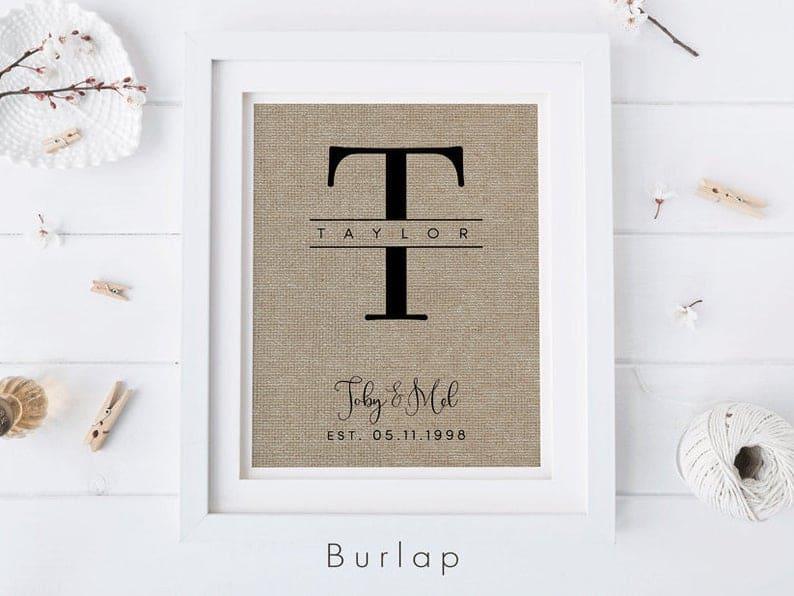 Monogram Personalized Wedding Gift
