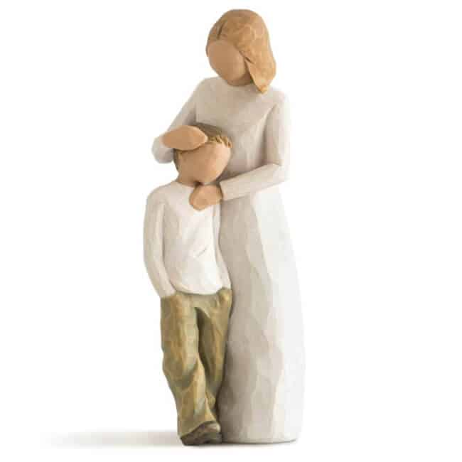 Mother and Son sculpted figurine - unique, sentimental gift for mom