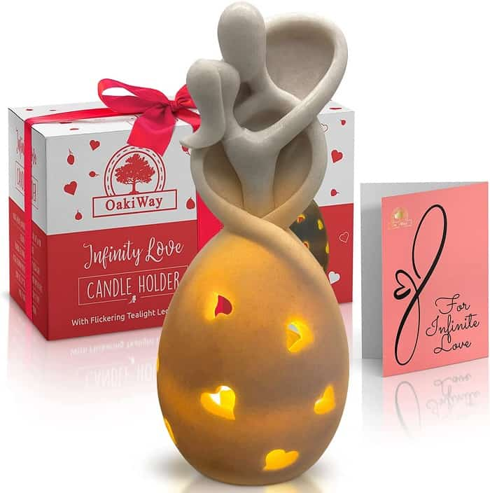 Infinity Love Candle Holder Statue porcelain gift ideas for anniversaries
