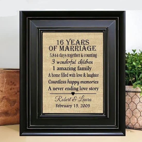 16 years together gift