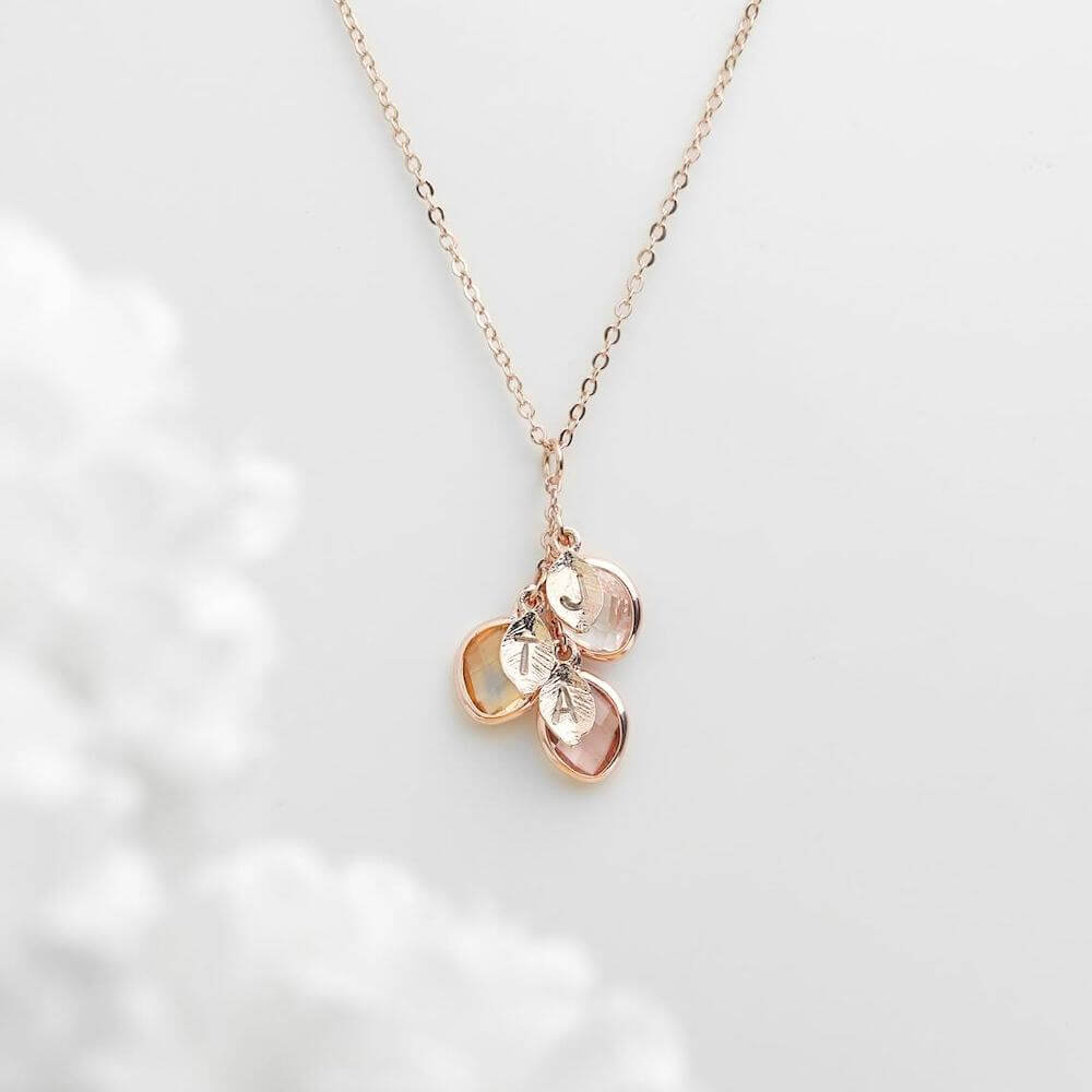 A Personalized Birthstones And Initials Necklace Gift