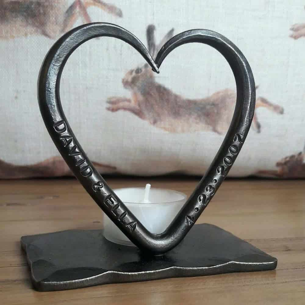Personalized Steel Tealight Candle for 11th Anniversary