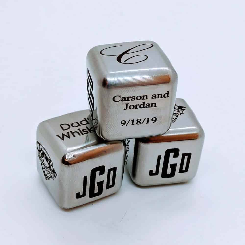 Personalized Steel Whiskey Cubes - Traditional Steel Anniversary Gifts for a Couple