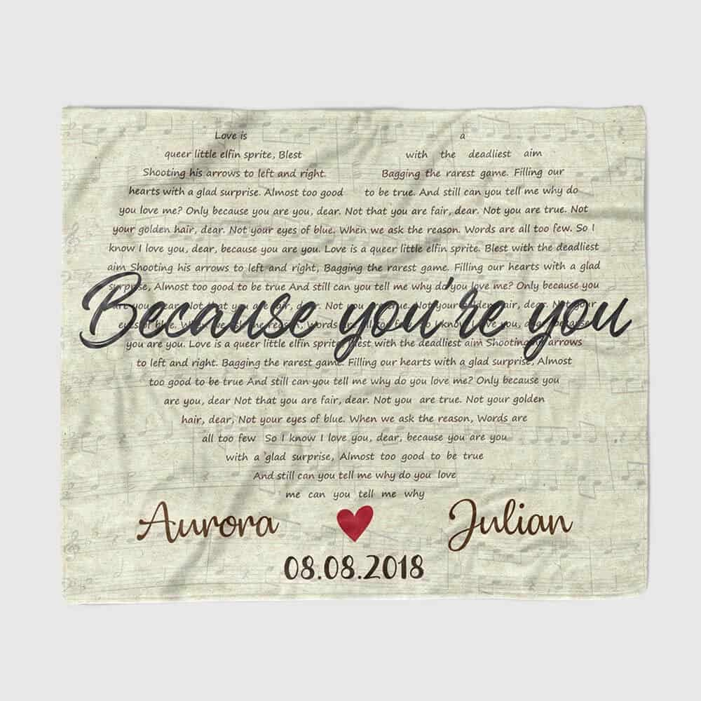 Personalized Throw Blanket 11 year anniversary gift for her