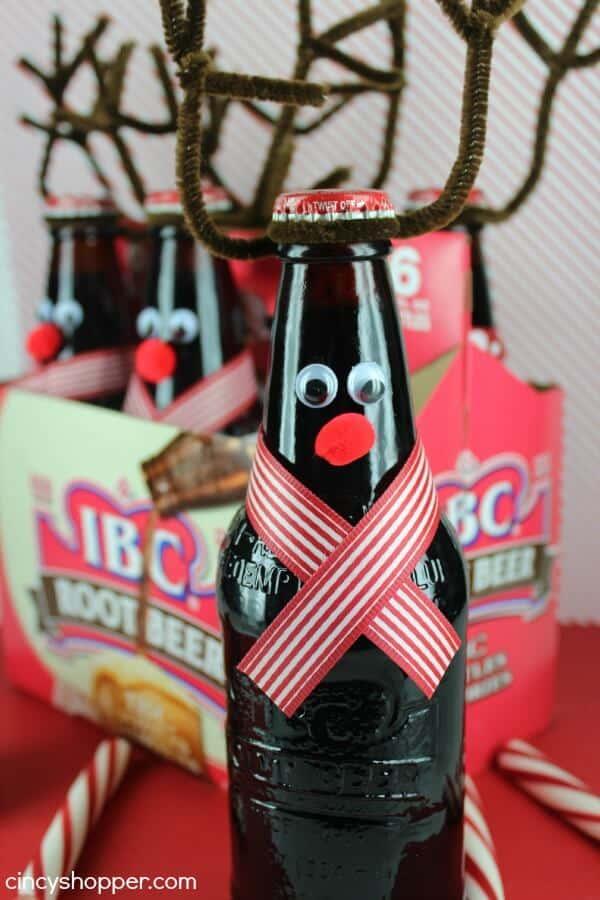 DIY reindeer root beer for neighbors on Christmas